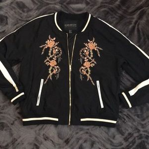 F21 Plus Size Embroidered Bomber Jacket